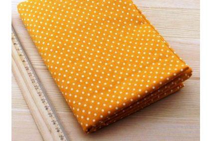 Тканина жовта асорті 50*50см горох малий білий (на темно жовтому)