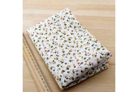 Ткань жёлтая ассорти 50*50см цветы мелкие разные жёлтые