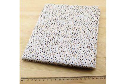 Ткань кофейнаяассорти 50*50см горох мелкий коричневый (на белом)