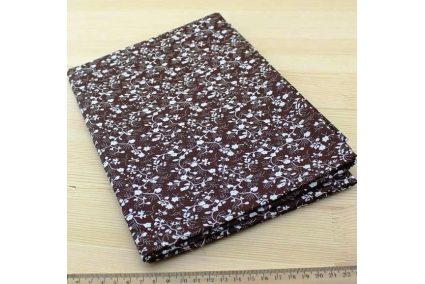 Ткань кофейная ассорти 50*50см цветы белые (на коричневом)