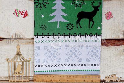 """Тканина польська """"Скандинавський орнамент сіро-зелений"""" на білому"""