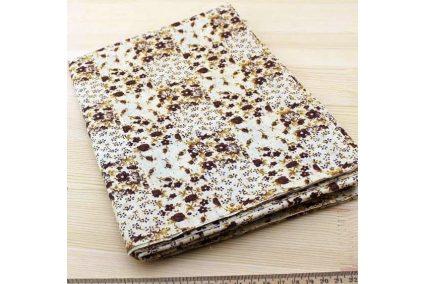 Ткань кофейная ассорти 50*50см цветы коричневые (на бежевом)