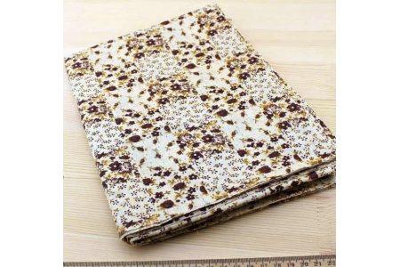 Тканина кавова асорті 50*50см квіти коричневі (на бежевому)