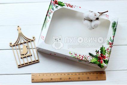 Коробка з крафт-картону білого з віконечком 150*200*30мм з різдвяним візерунком