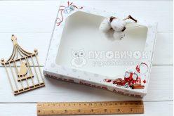 Коробка из крафт-картона белого с окошком 150 * 200 * 30мм с паровозиком