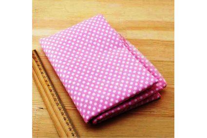 Тканина рожева асорті 50*50см горох великий білий
