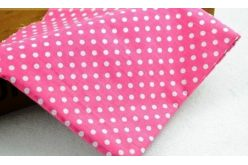 Тканина рожева асорті 50*50см горох великий білий (на малиновому)