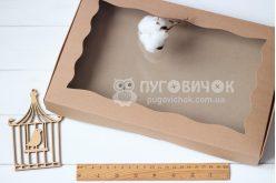 Коробка з крафт-картону з віконечком 200*300*30мм