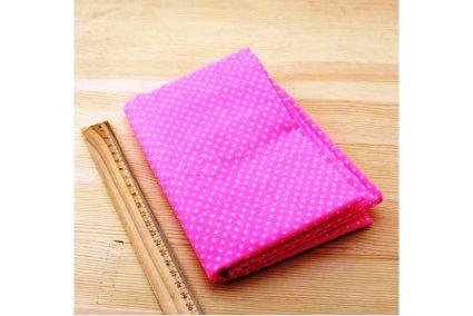 Тканина рожева асорті 50*50см горох малий білий (на яскраво рожевому)