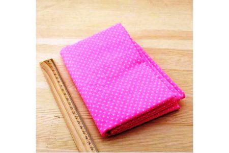 Ткань розовая ассорти 50*50см горох мелкий белый (на ярко-розовом)