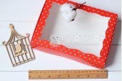 Коробка з крафт-картону з віконечком 150*150*30мм горох білий на червоному