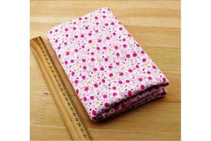 Ткань розовая ассорти 50*50см цветы мелкие разные