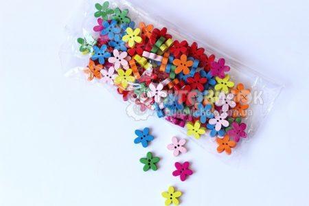"""Гудзик """"Квітка"""" 15*14*2мм однотонний (упаковка)"""