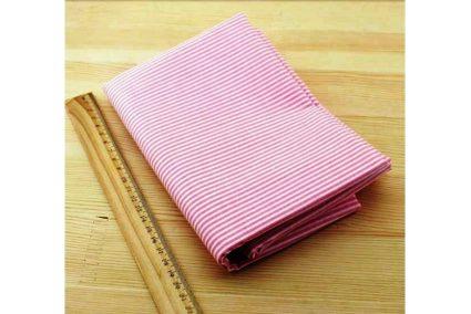 Ткань розовая ассорти 50*50см полоска белая