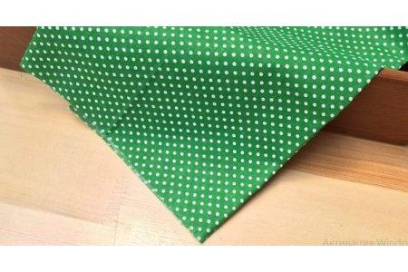 Тканина салатова асорті 50*50см горох малий білий (на зеленому)