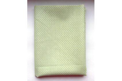Тканина салатова асорті 50*50см горох малий білий (на світло салатовому)