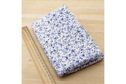 Ткань синяя ассорти 50*50см цветы мелкие разные (на белом)