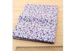 Тканина фіолетова асорті 50*50см квіти малі різні густі (на білому)