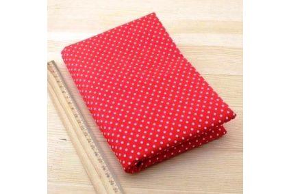 Ткань красная ассорти 50*50см горох мелкий белый