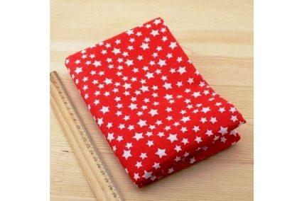 Ткань красная ассорти 50*50см звезды