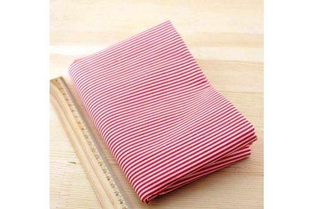 Ткань красная ассорти 50*50см полоска белая