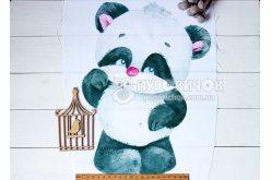 """Габардин с рисунком 35*24см панелька """"Добрая панда"""""""