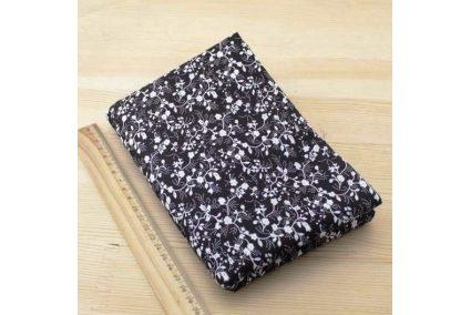 Ткань черная ассорти 50*50см цветы белые