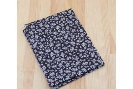 Тканина чорна асорті 50*50см квіти білі густі