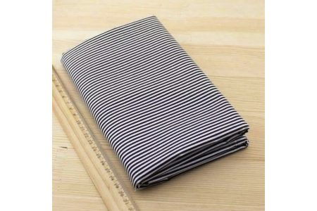 Ткань черная ассорти 50*50см полоска белая