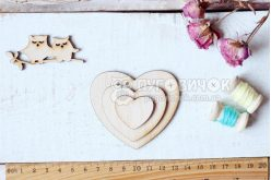 """Шаблон деревянный """"Сердце"""" набор 3шт"""