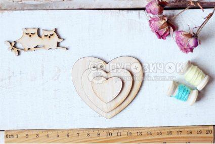 """Шаблон дерев'яний """"Серце"""" набір 3шт"""