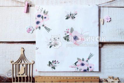"""Тканина """"Квіти анемони рожеві"""" на білому"""