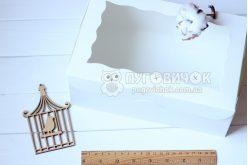 Коробка з крафт-картону білого з віконечком 250*170*90мм