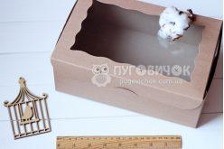 Коробка з крафт-картону з віконечком 250*170*90мм