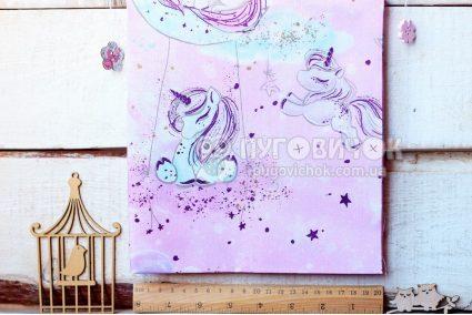 """Тканина польська """"Сплячі єдинороги з глітерними зірками"""" на рожевому"""