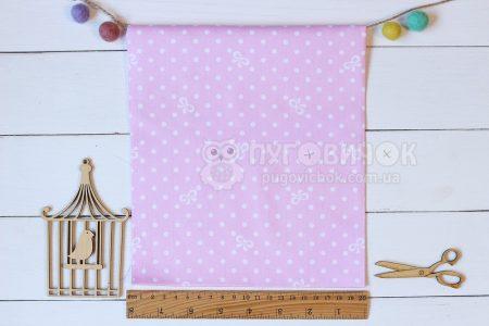 """Ткань """"Горох малый белый и бантики на светло-розовом"""""""