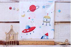 """Ткань """"Космический транспорт и планеты"""" на белом"""