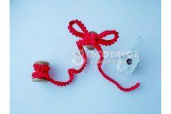 Тесьма с помпонами красная 5мм