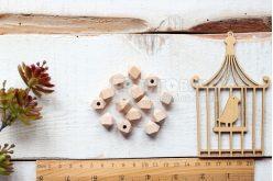 Бусина гексагоновая буковая 12мм