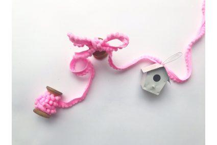 Тасьма з помпонами світло-рожева 5мм