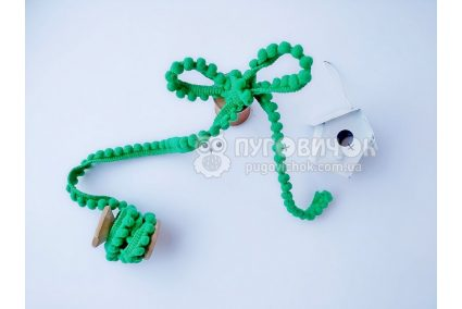 Тасьма з помпонами зелена 5мм