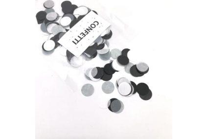 Конфеті кружечки чорний мікс зі сріблом 12 г
