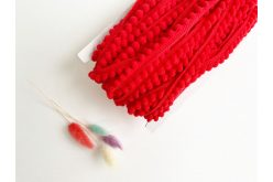 Тесьма с помпонами красная 5мм (бабина)