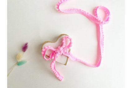 Тасьма з помпонами рожева 5мм