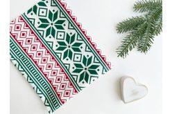 """Ткань польская """"Новогодний орнамент зелено-красный"""" на белом"""