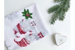 """Ткань польская """"Гномы и серые снежинки"""" на белом"""