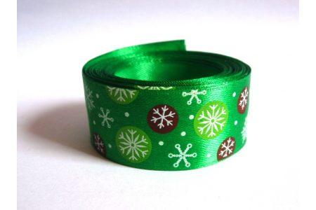 """Стрічка атласна 2,5см """"Сніжинки на зеленому"""""""