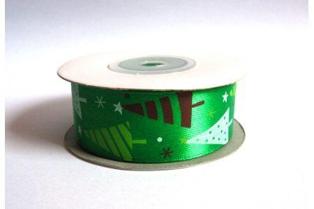 """Стрічка атласна 2,5см """"Ялинки різні на зеленому"""""""