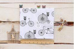 """Тканина польська """"Велосипеди і сови чорні"""" на білому"""
