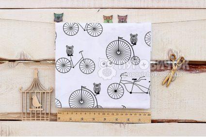 """Тканина """"Велосипеди і сови чорні"""" на білому"""